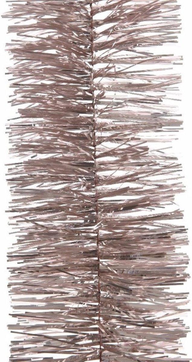 5x Kerstslingers lichtroze 7 x 270 cm - Guirlande folie lametta - Lichtroze kerstboom versieringen kopen