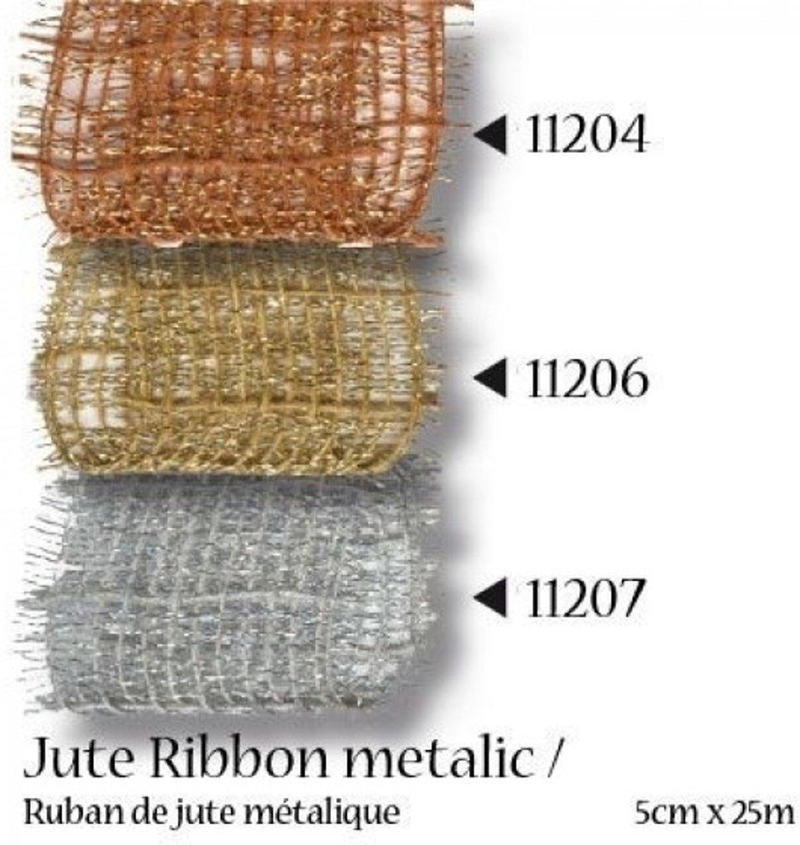 Afbeelding van product Juteband metallic 5cm 25m koper