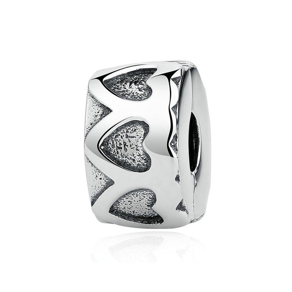 Zilveren clip Rij van harten kopen