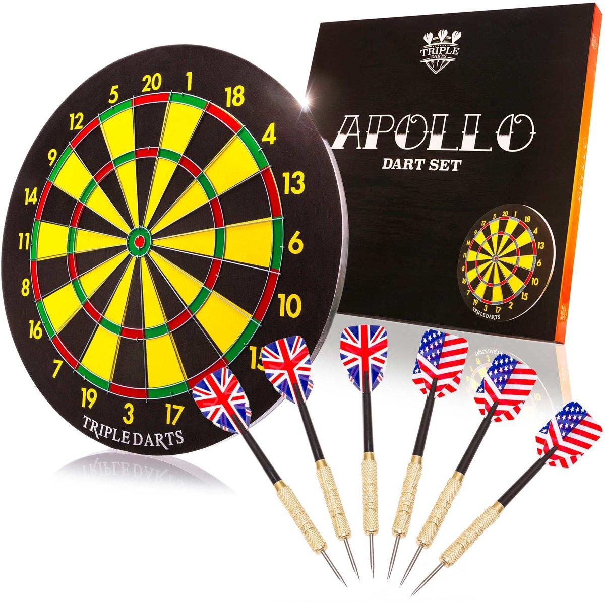 #DoYourDart - DartBord - »Saturn« - incl. 6x Steeltip dartpijlen - Ø bord: 45cm dubbelzijdig speelbaar Steeldarts: 18g, - kopen