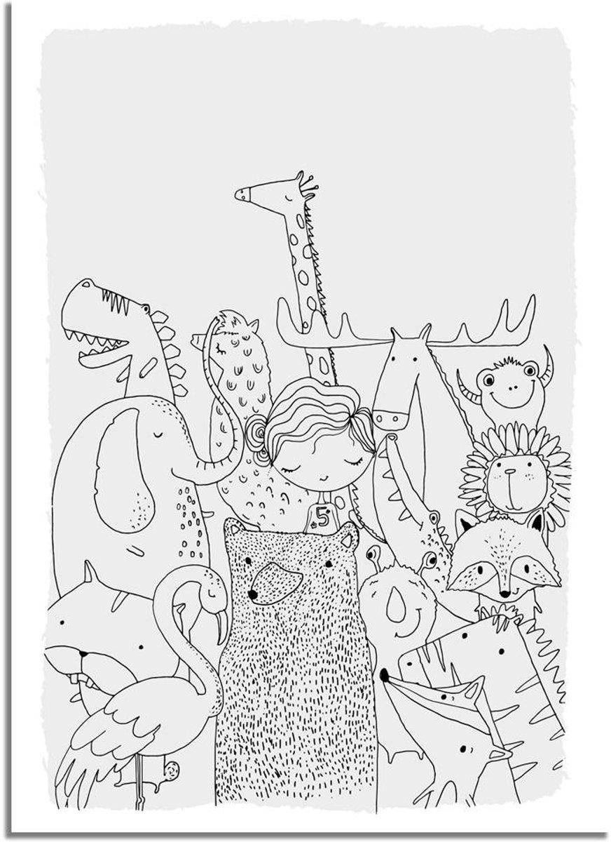Kinderkamer poster Dieren DesignClaud- Grijs- A3 poster kopen