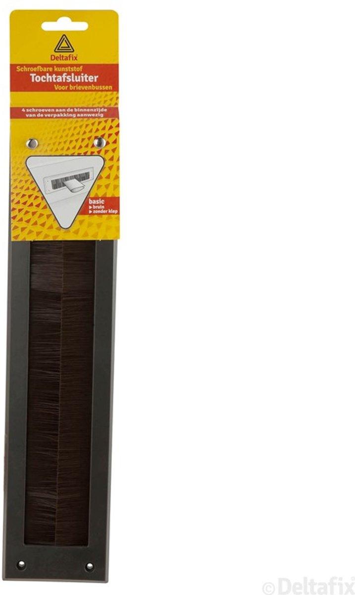 Deltafix Brievenbus borsteltochtplaat     voor briefplaat bruin