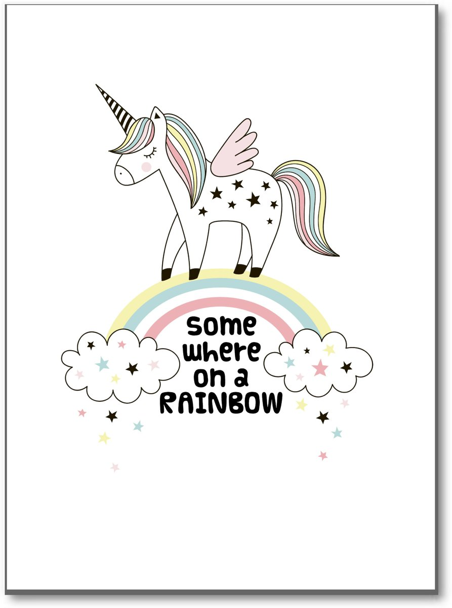 Unicorn 'Somewhere over the Rainbow' - Poster - Minimalistic Wall Art kopen