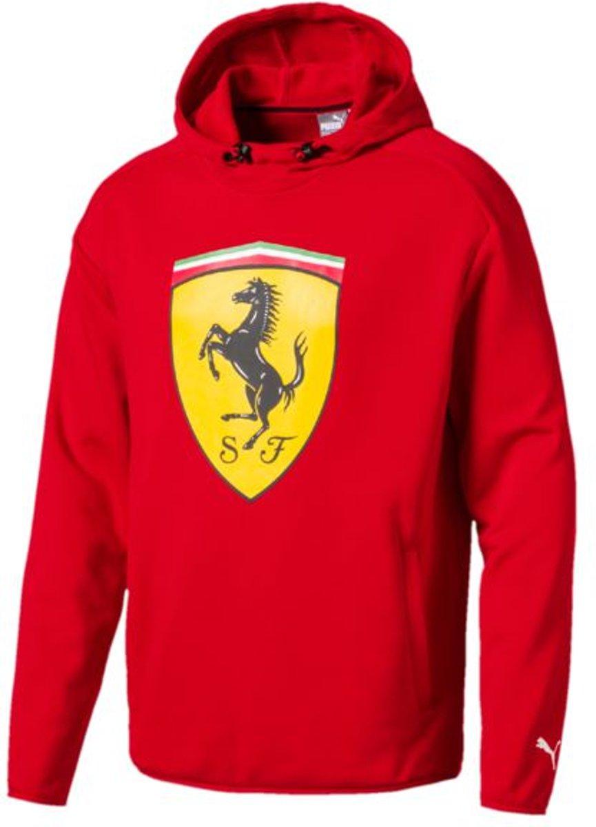 PUMA Ferrari Big Shield Hooded Sweat Heren - Rosso Corsa