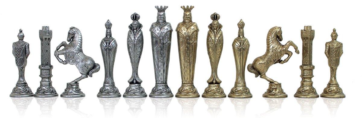 Luxe schaakset - Renaissance stijl in klassiek goud zilver en houten schaakbord - 51 x 51 cm