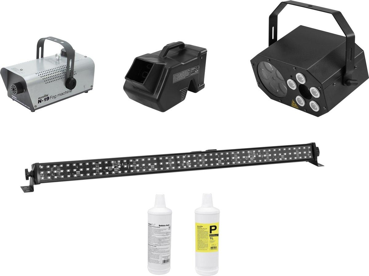 EUROLITE Set LED Mini FE-5 + LED PIX-144 + B-80 + N-19 + Fluid kopen
