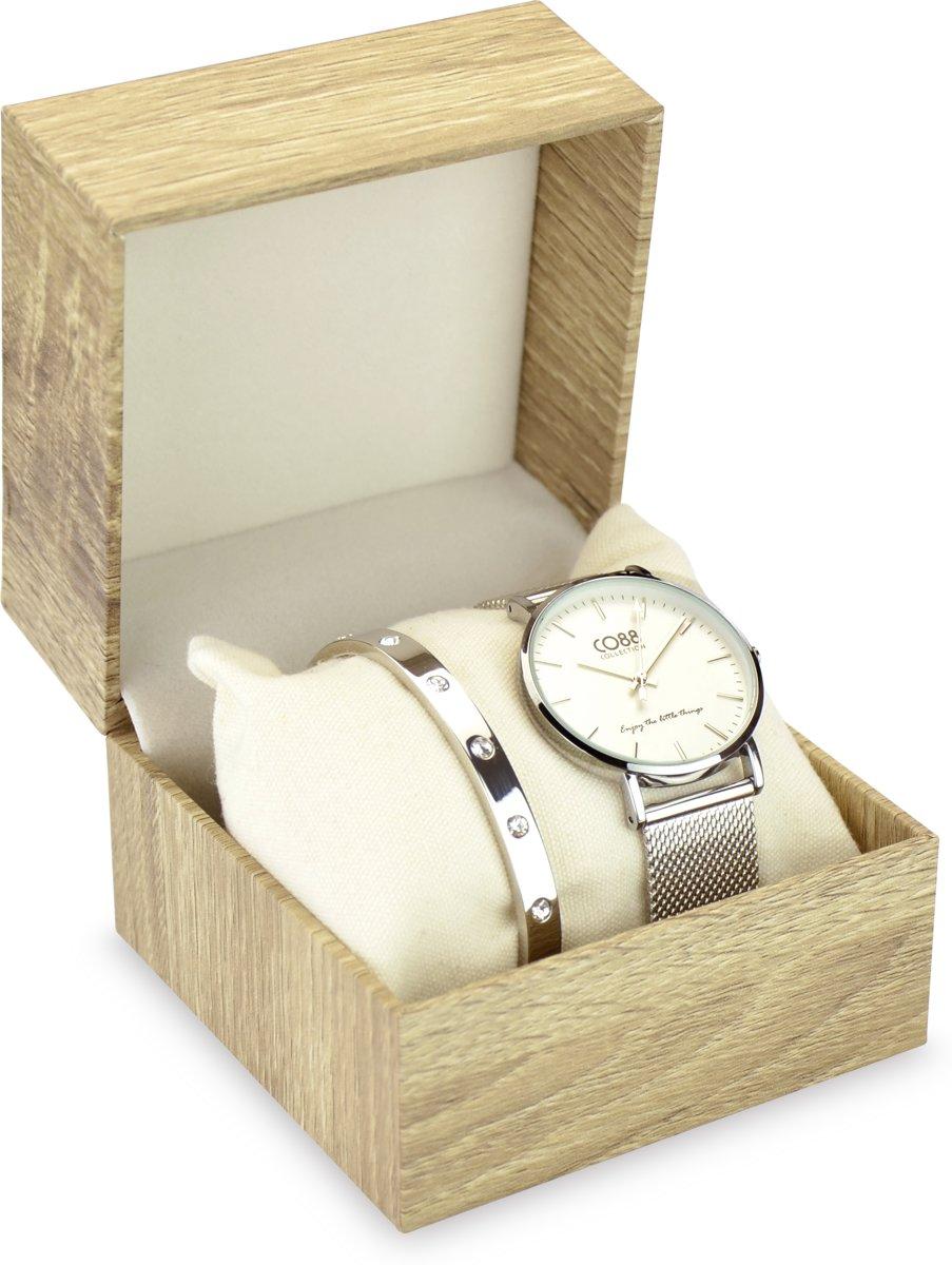 CO88 Collection Gift Set 8CO SET021 Horloge Geschenkset - Horloge met Armband - Ø 36 mm - Zilverkleurig kopen