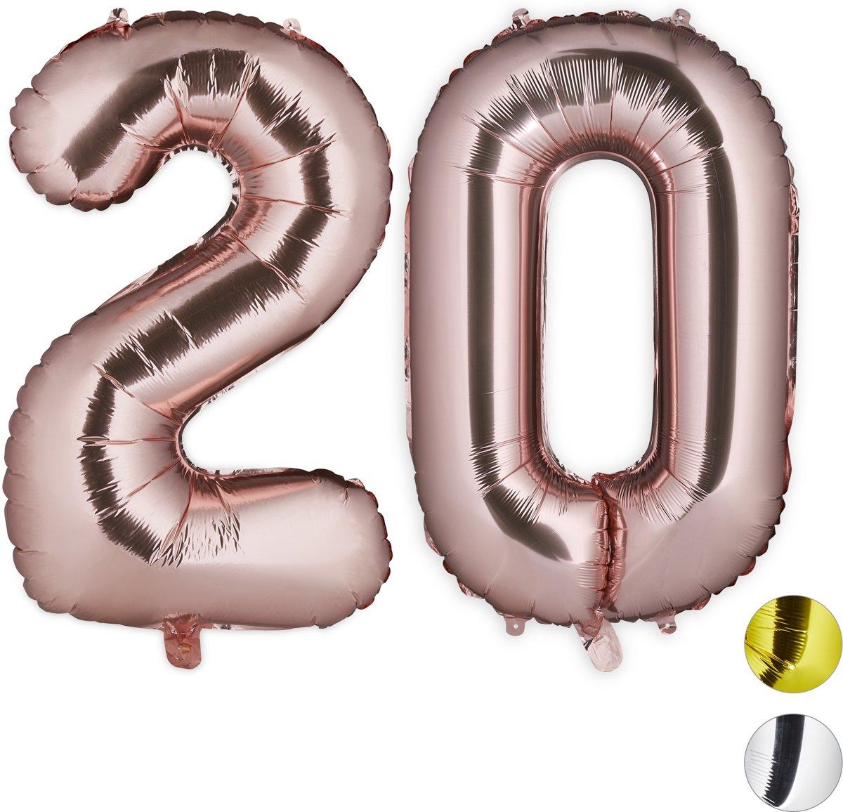 relaxdays folieballon getal 20 - luchtballon folie ballon - grote XXL cijferballon Rose goud kopen