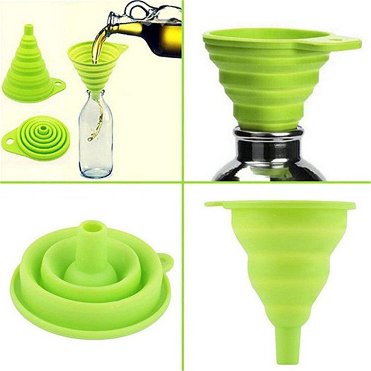 Noix Opvouwbare Siliconen Trechter - Inklapbaar handig keuken tool - groen kopen