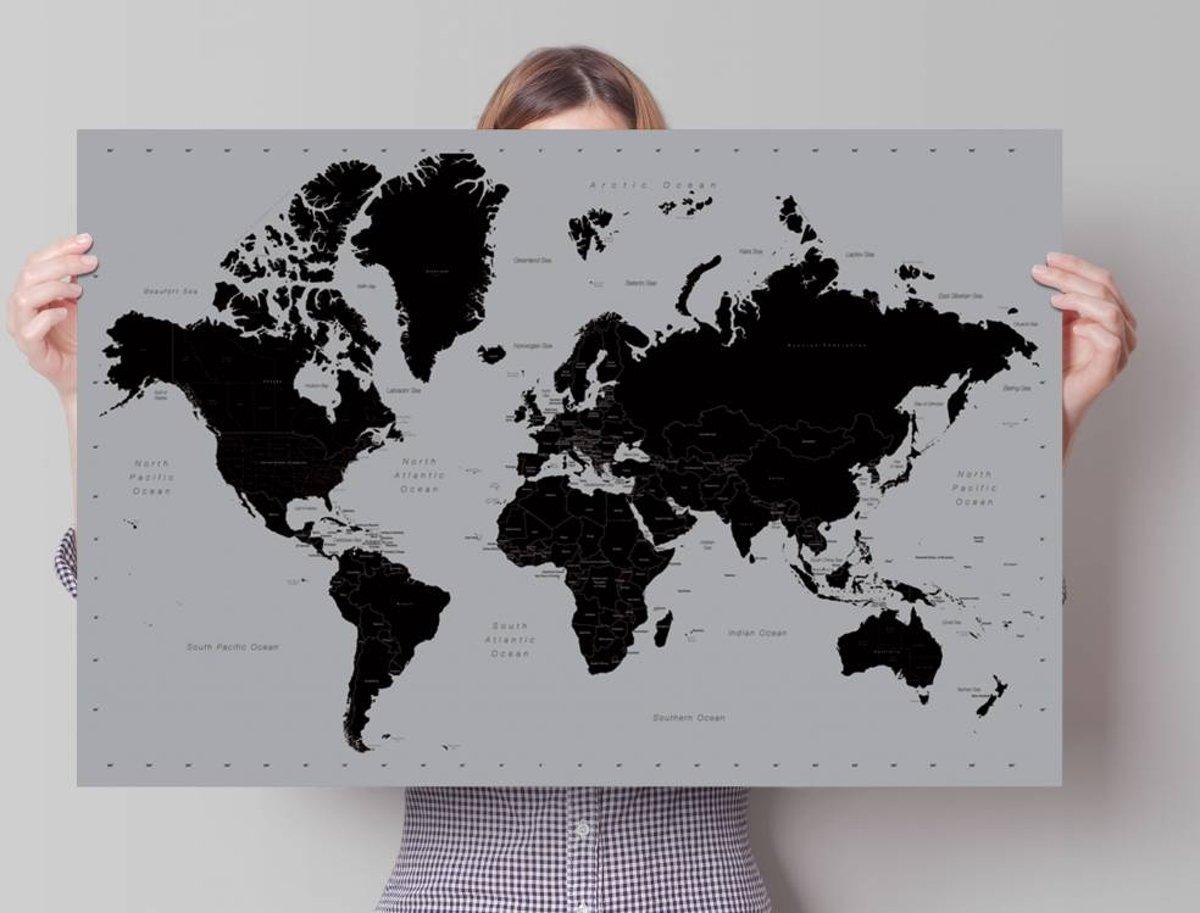 REINDERS Wereldkaart zilver - Poster - 91,5x61cm