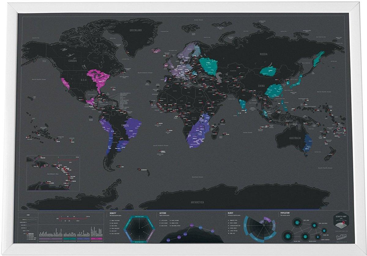 Scratch Map -Kras kaart met hoofdsteden - Luckies kopen