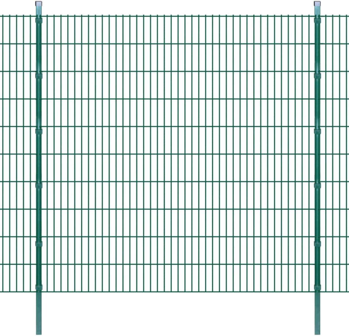 Dubbelstaafmatten en palen 2008x2030 mm 14 m groen (incl. Werkhandschoenen)