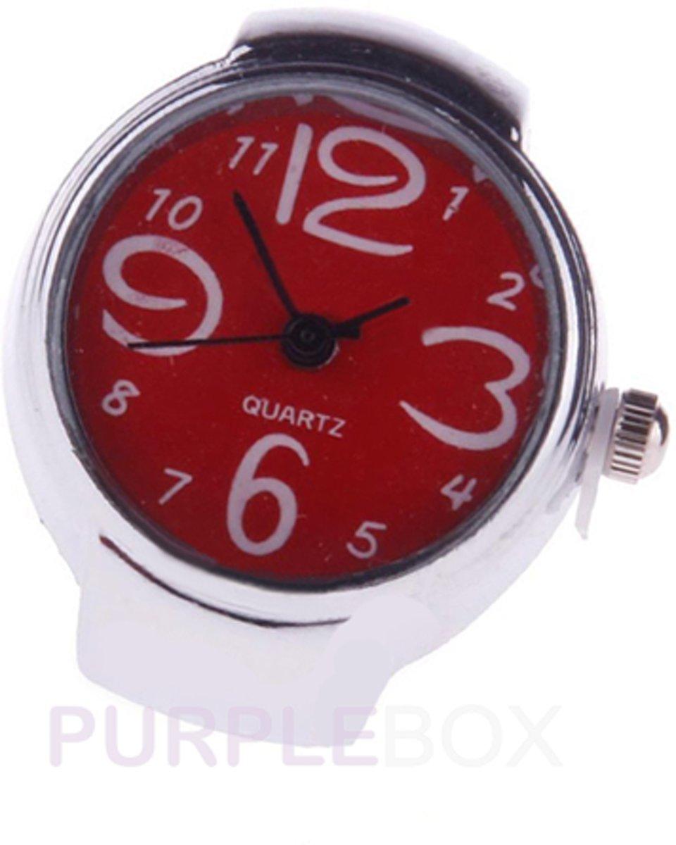 Elastisch ring horloge, rood kopen