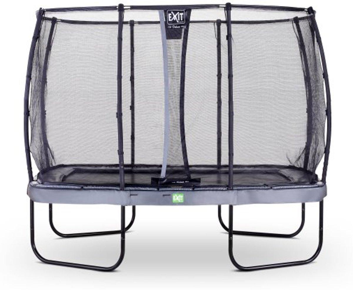 EXIT Elegant trampoline 214x366cm met veiligheidsnet Deluxe - grijs