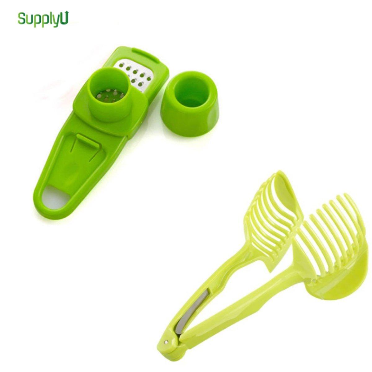 Groente Snijder - Gember Pers Set - Groen - Easy Slicer - Tomaten Snijder - Eiersnijden - Knoflook Snijder - Gember Pers - Keuken Gerei Set -  Gemberpers - Knoflookpers - Knoflookperser kopen