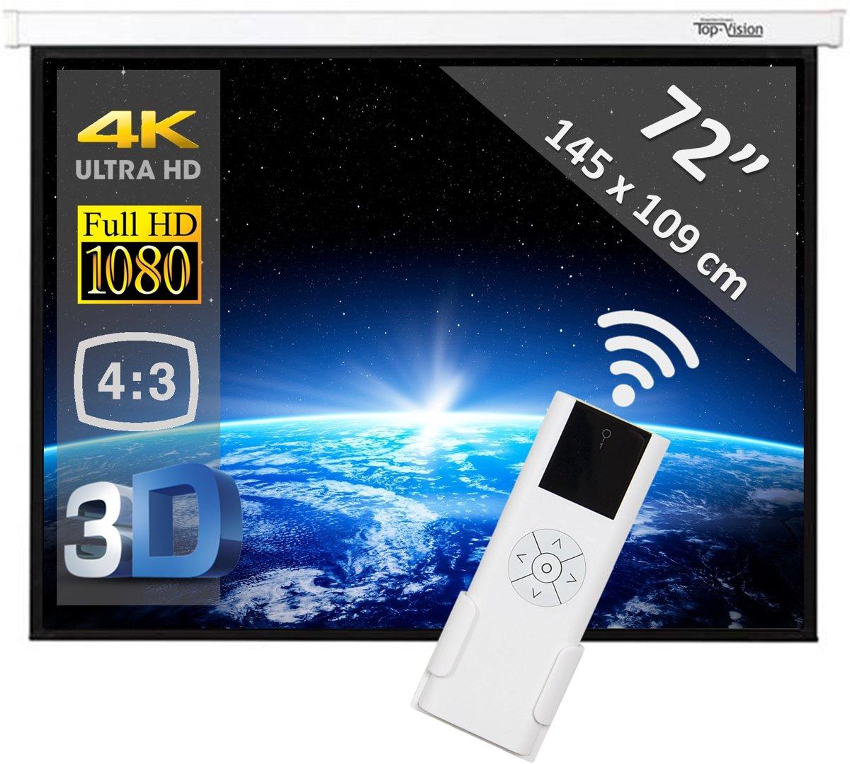 """Elektrisch projectiescherm met afstandsbediening - 72"""" (183cm) - 145 x 109 cm - 4:3 kopen"""