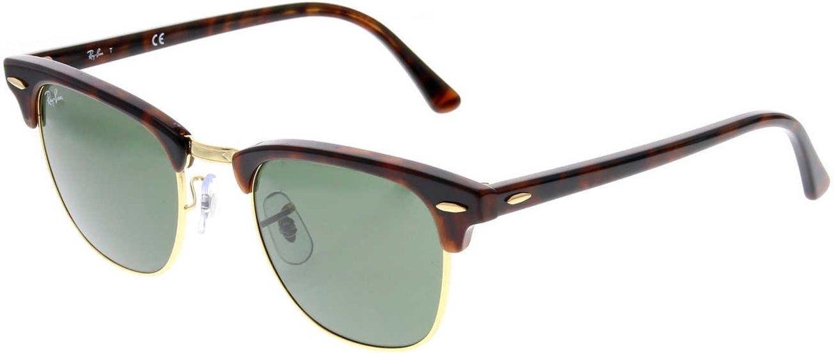 Ray-Ban RB3016 W0366 - Clubmaster (Classic) - zonnebril - Tortoise / Groen Klassiek G-15 - 49mm kopen