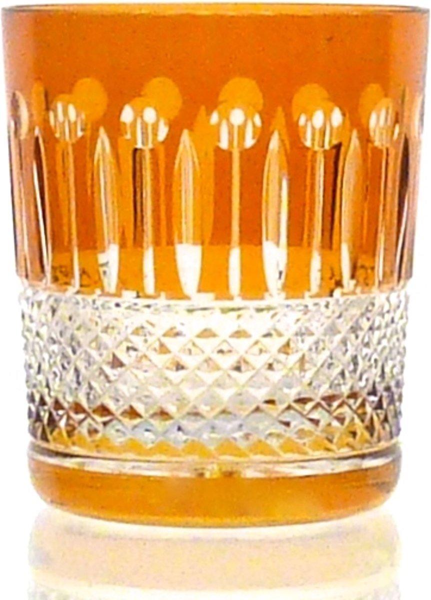 Kristallen whiskeyglazen  - Whiskyglas CHRISTINE - amber - set van 2 glazen - gekleurd kristal kopen