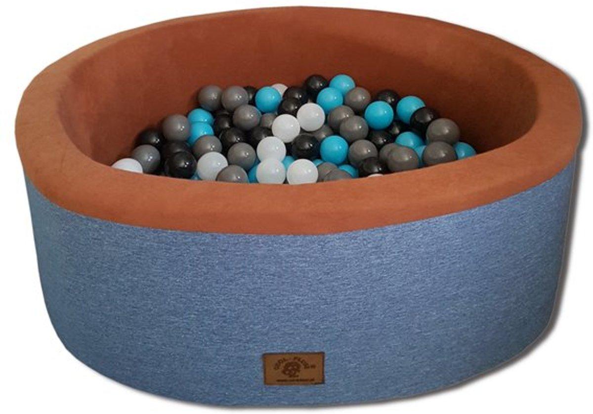Ballenbak - stevige ballenbad - 90 x 40 cm - 200 ballen - wit, grijs, zwart en lichtblauw