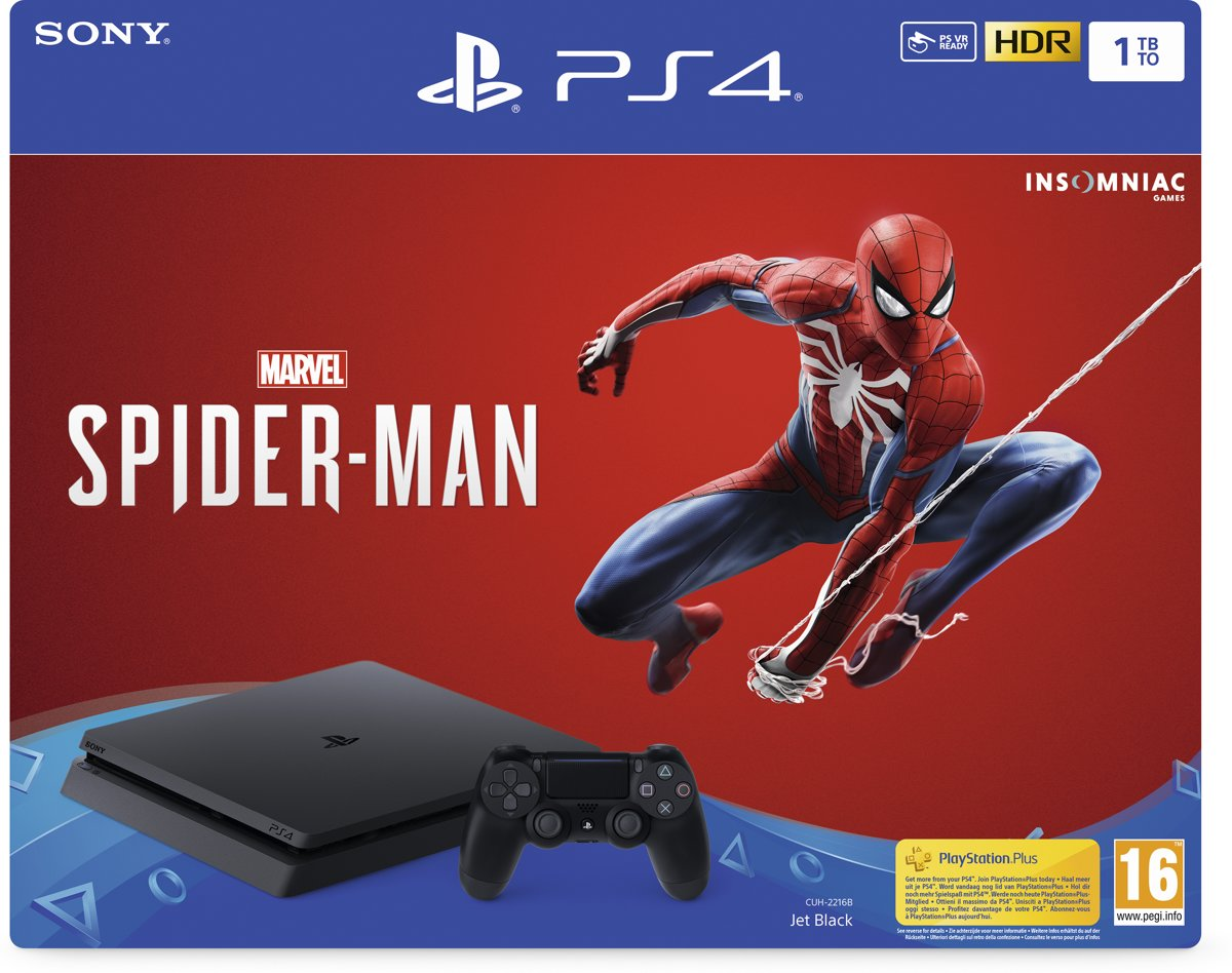 PS4 Slim Console 1TB + Marvel's Spider-Man PlayStation 4