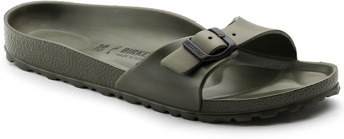 Birkenstock Madrid Smal Dames Slippers - Khaki - Maat 37 kopen