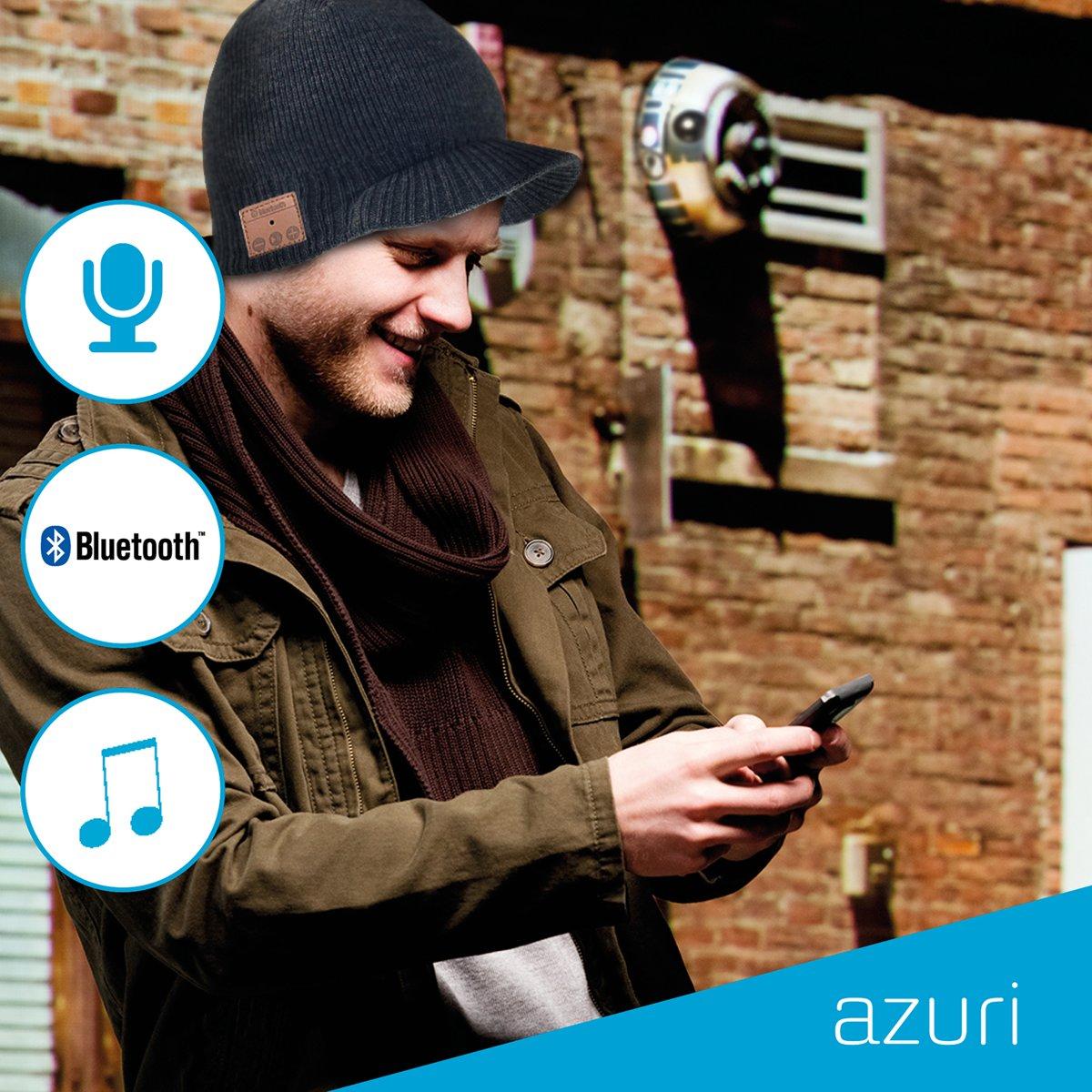 Azuri Beanie met bluetooth headset- grijs kopen