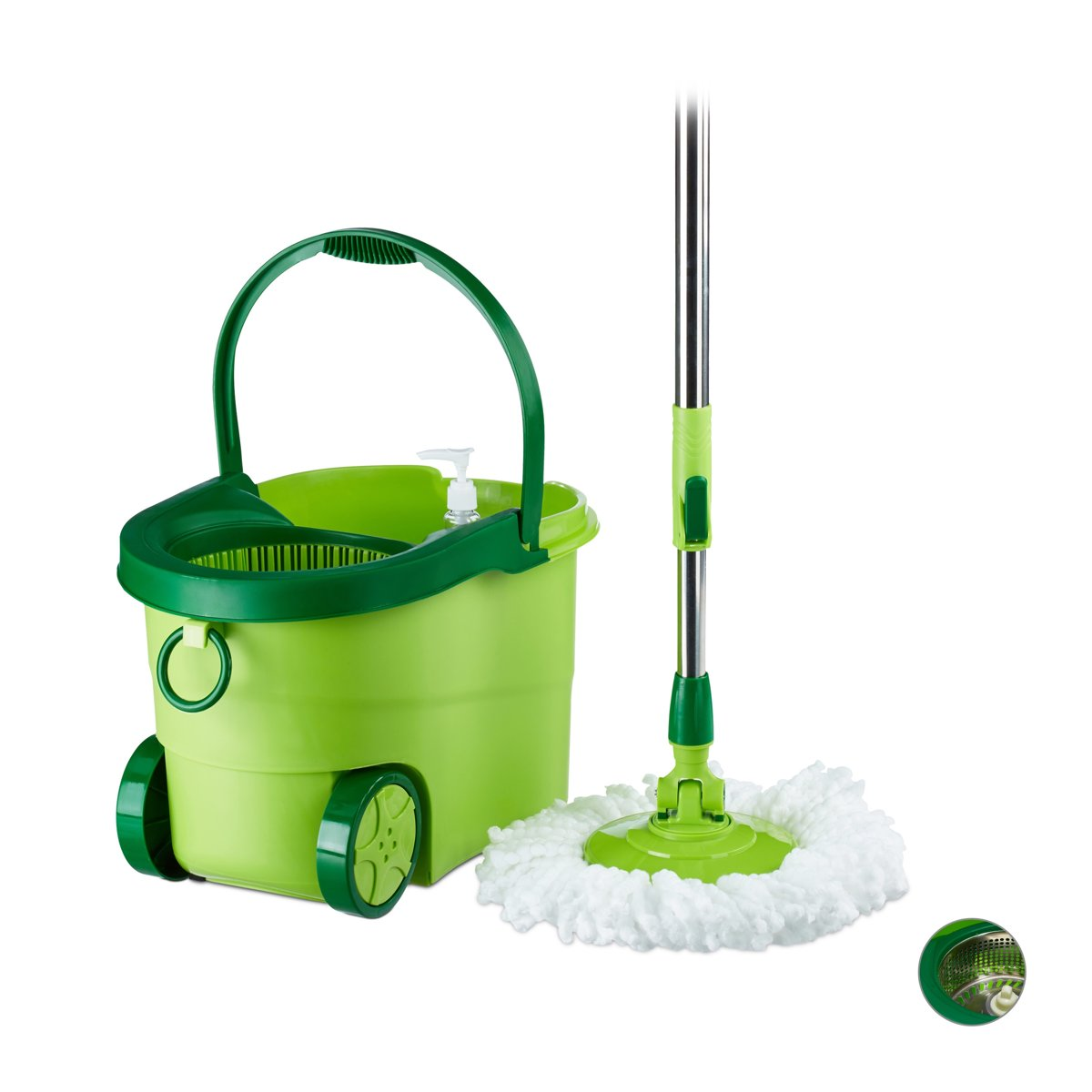 relaxdays Power Mop MOBIL met emmer - mopset - vloerwissersysteem - mop systeem - set Kunststof kopen