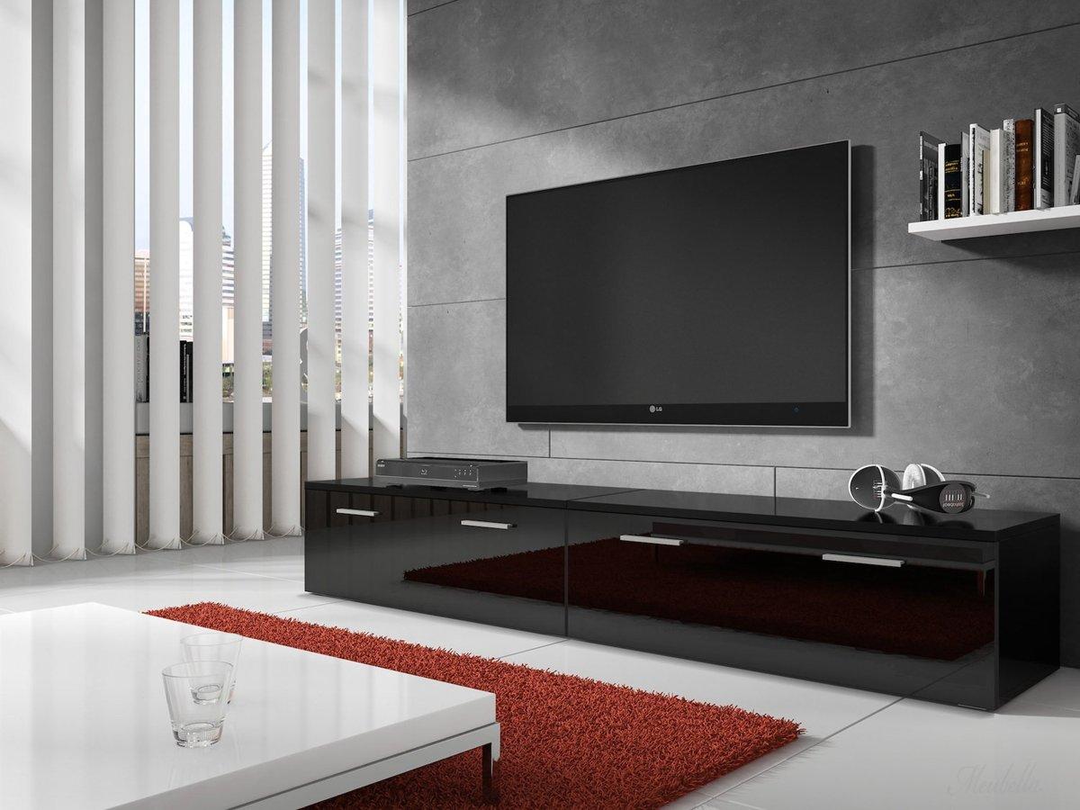 Hoogglans Meubels Beschadigd : Bol.com meubella tv meubel diana zwart 200 cm