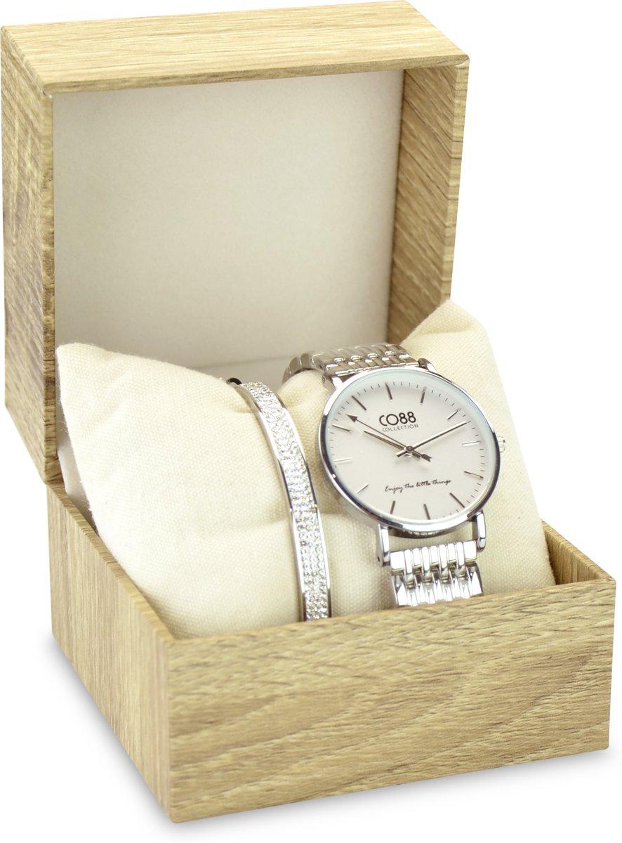 CO88 Collection Gift Set 8CO SET032 Horloge Geschenkset - Horloge met Armband - Ø 36 mm - Zilverkleurig kopen