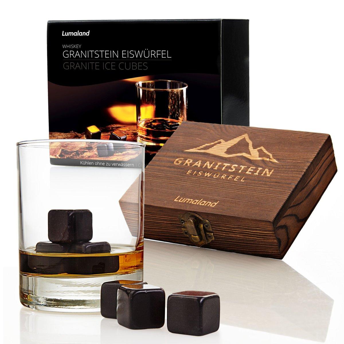 Lumaland - Whiskey stenen - van hoogwaardig graniet - Whiskey stones - incl. houten doos, opbergtasje en edelstalen tang - Set van 9 - Zwart kopen