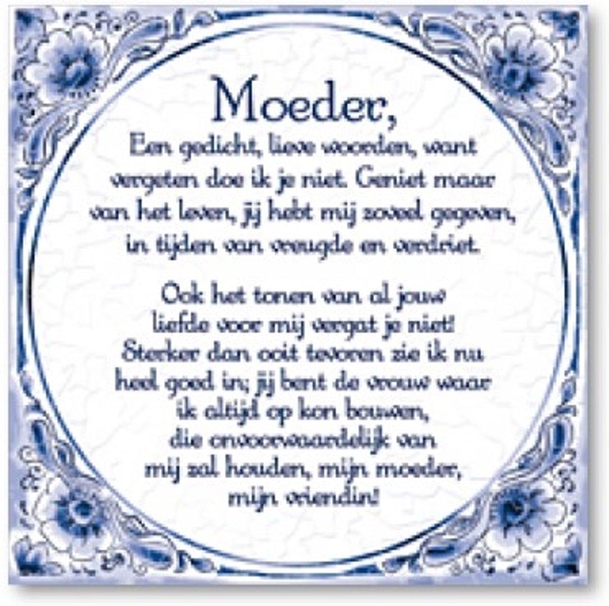 Delfts Blauwe Spreukentegel Moeder Gedicht Delfs Blauwe Spreukentegel