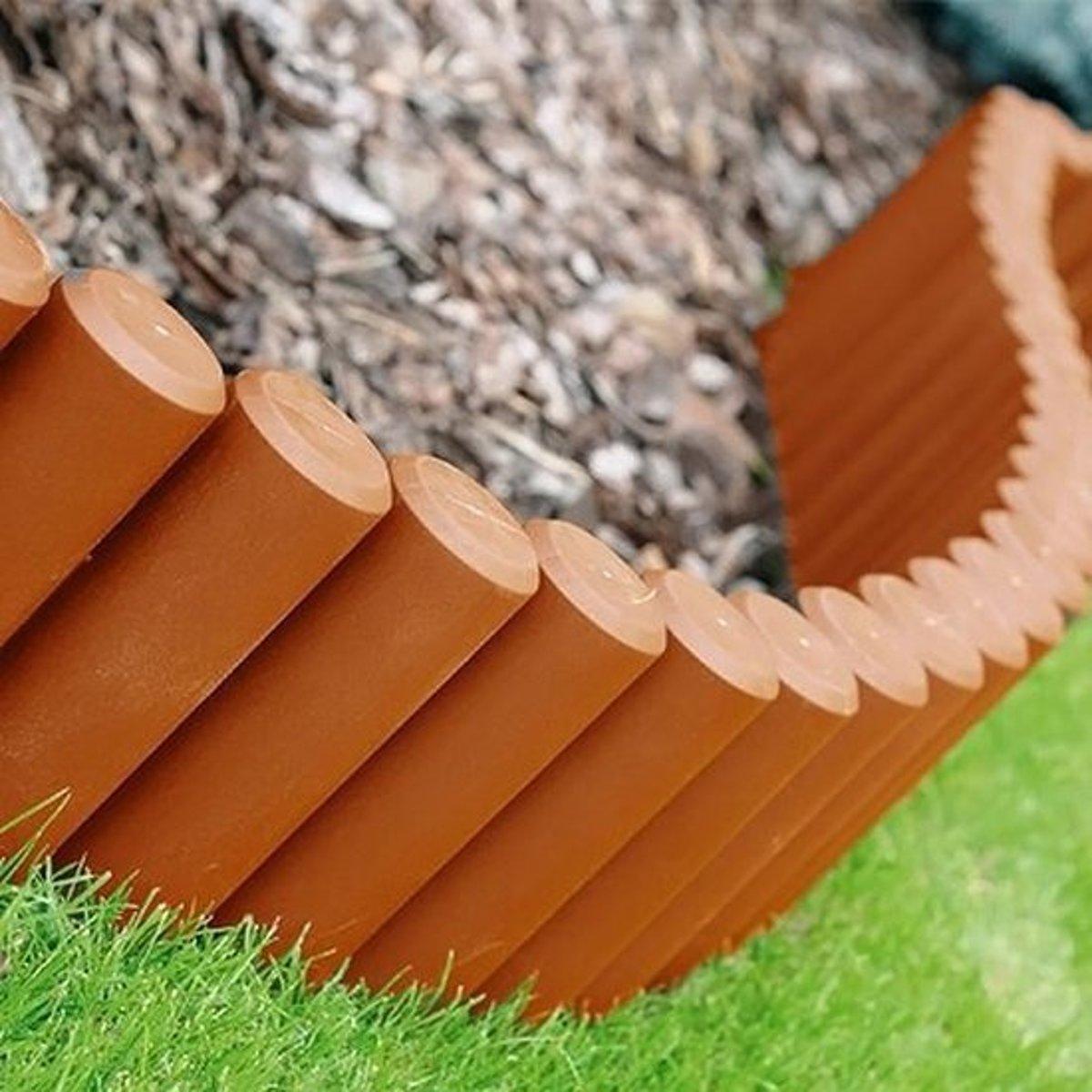 Borderrand palissade terracotta - 240 cm - set van 8 stuks kopen