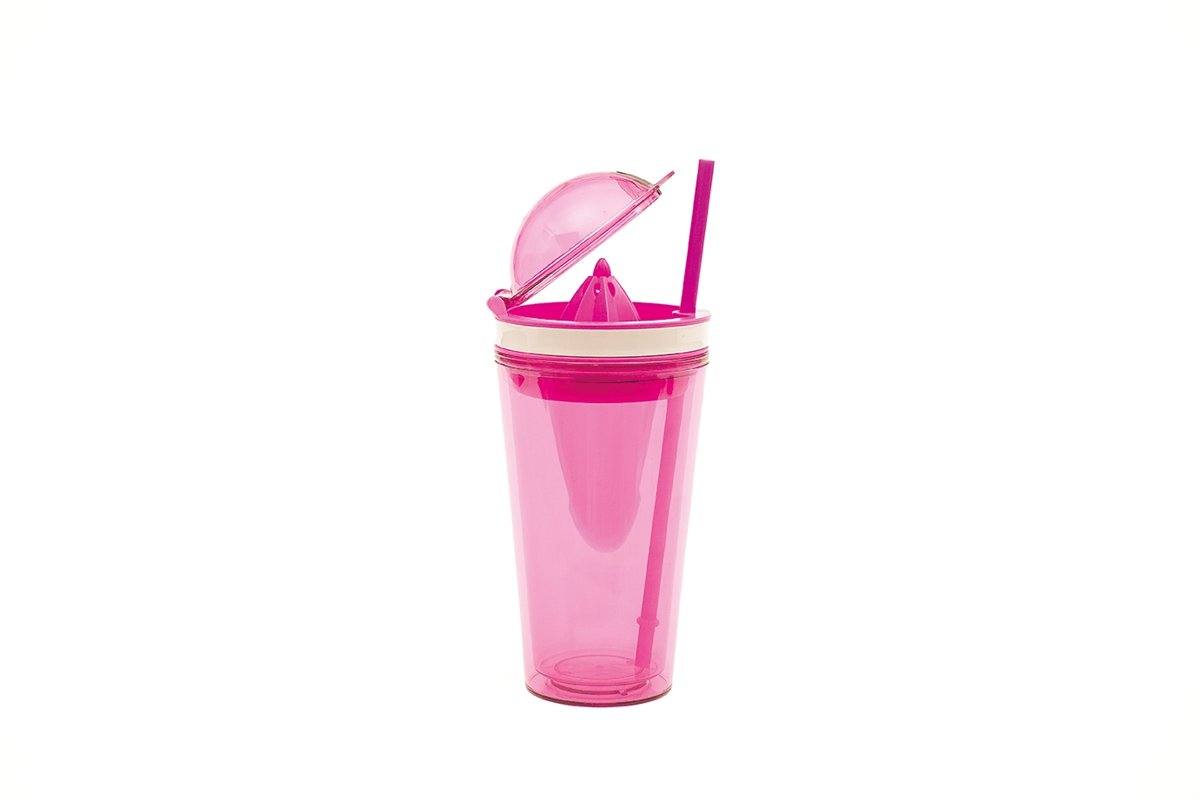Zak!Designs On The Go Citruspers Drinkbeker - Dubbelwandig - Incl. Rietje - SAN - 500ml - Roze kopen