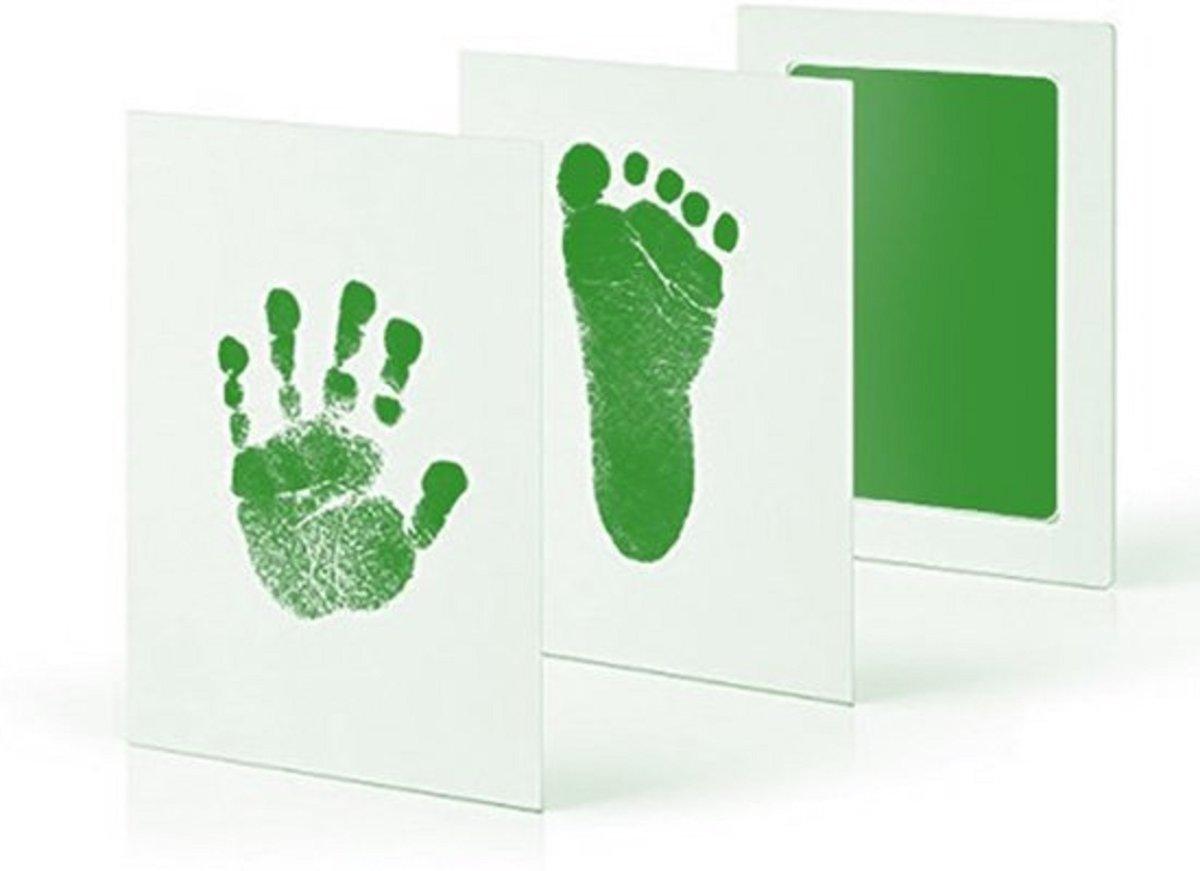 Baby handafdruk en voetafdruk fotokaartje - Baby cadeau - Gipsafdruk alternatief! - Eenvoudig schoonmaken - Groene inkt