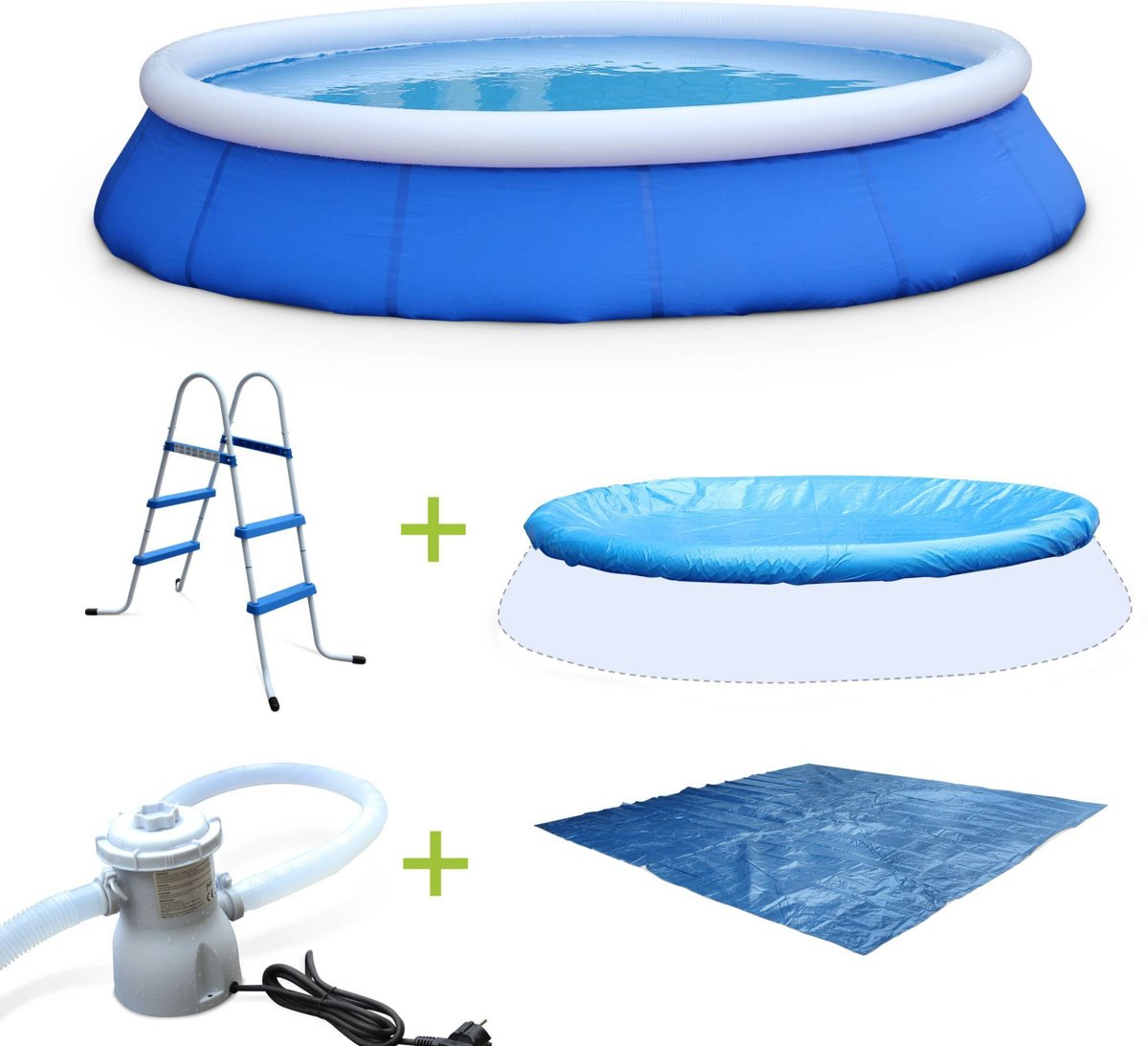 Rond blauw zwembad kit Ø420x84cm met filter pomp, dekzeil, grondzeil e