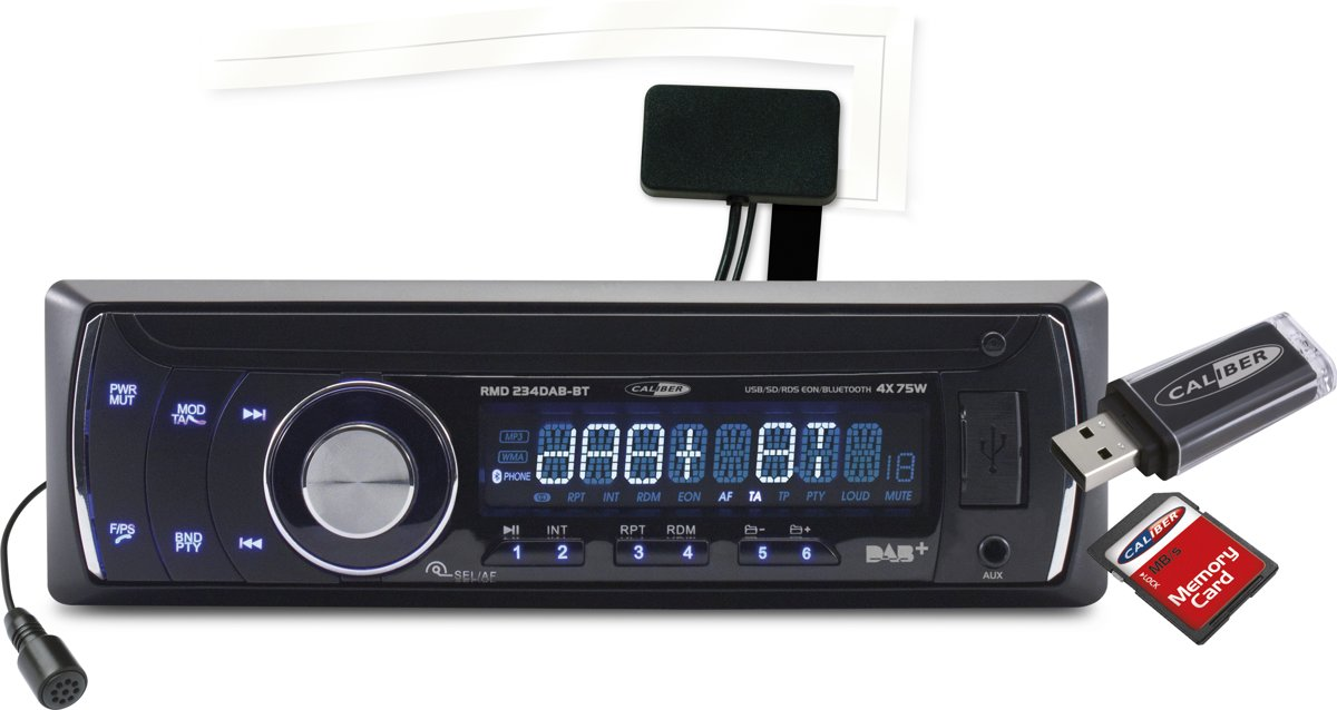 FM AM-Tuner Bluetooth Autoradio Caliber RMD234DBT Radio USB SD AUX DAB Antenne