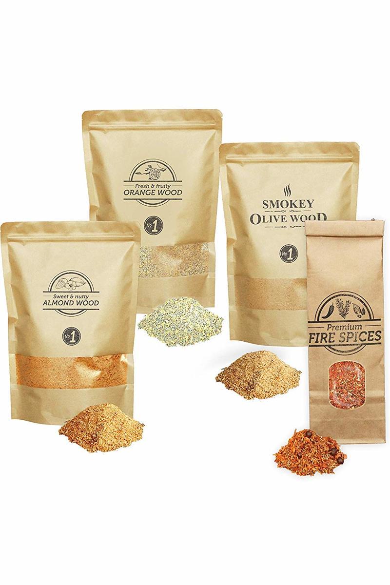 Smokey Olive Wood - Rookmot - Selectie en vuurkruiden - Olijf- Amandel - Sinaasappel en vuurkruiden - 3X 1500ml rookmot - 1X 300ml vuurkruiden kopen