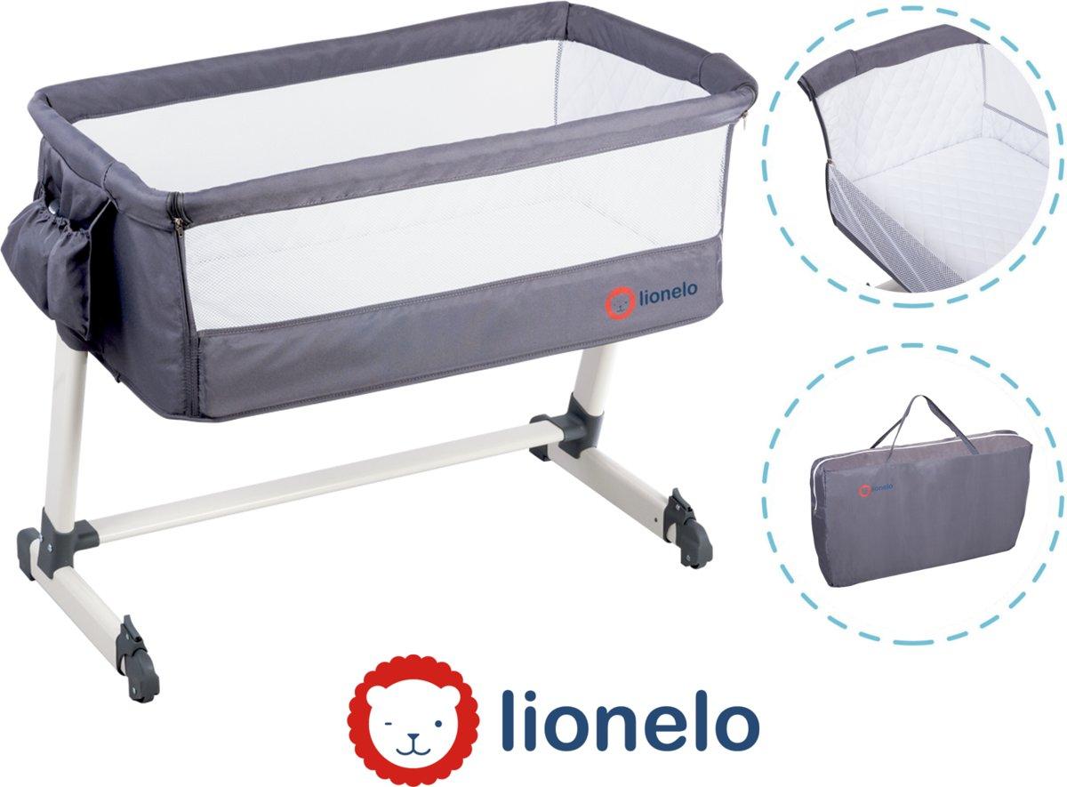 Lionelo Lo-Theo 2 in 1 Co Sleeper aanschuifwieg instelbare hoogte met tas en accessoire - donker grijs kopen