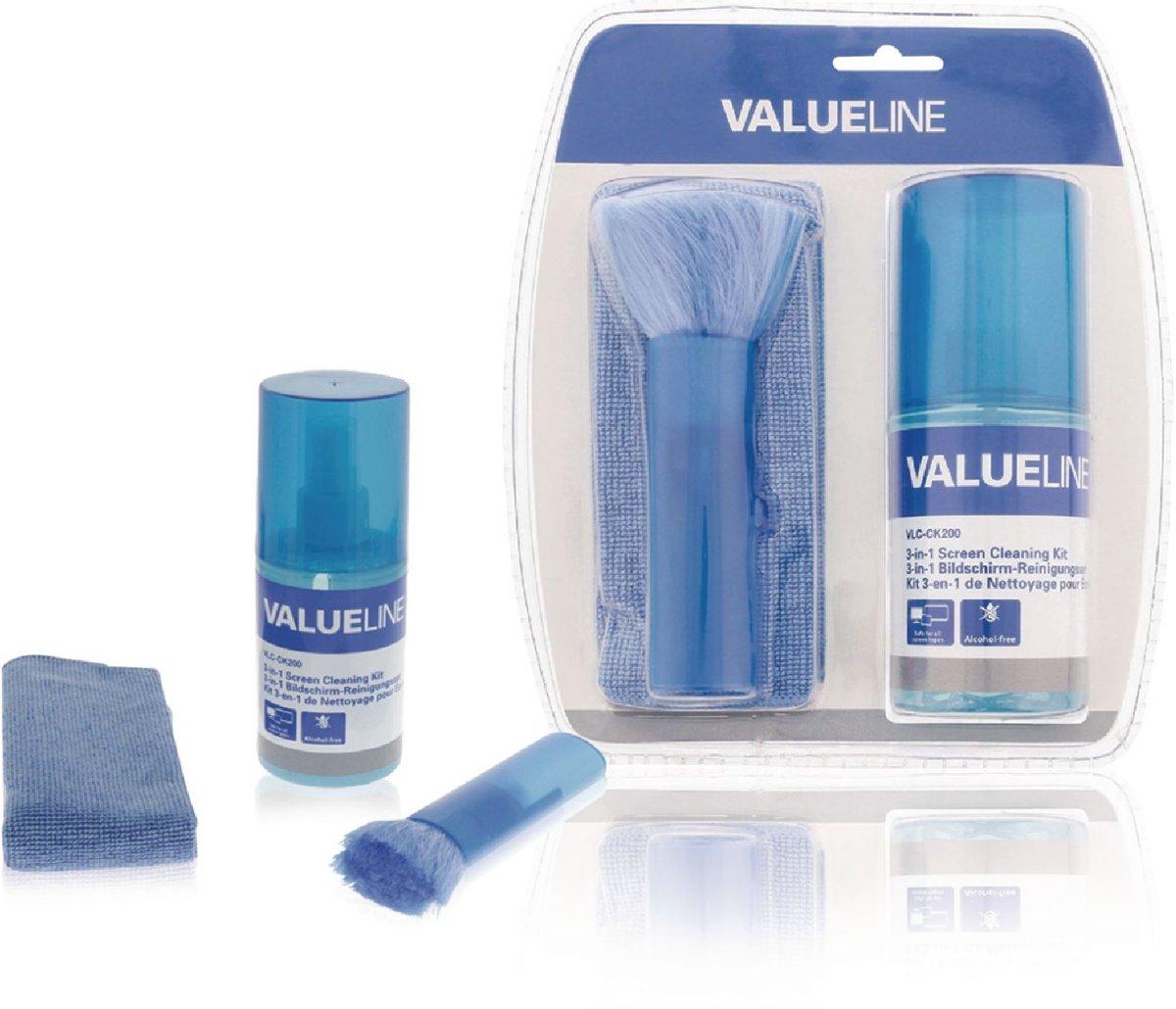 Valueline 3 in 1 schermreinigings set 35 ml vloeistof doek borstel vlc ck100 5412810232864 - Doek voor tuinborstel ...
