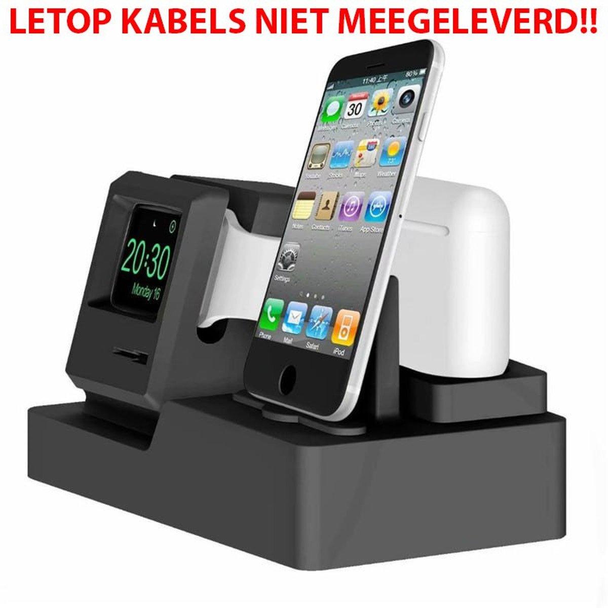 3-in-1 oplaadstation (zwart) Dock-houder Houder Station Voor AirPods Apple Watch Serie 4/3/2/1 / iPhone X / 8 / Plus / 7/7/6 / Plus Watchbands-shop.nl kopen