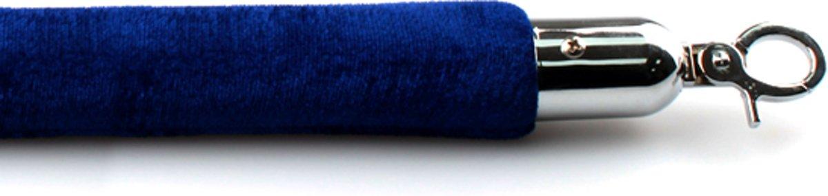 Velours koord blauw met chroom sluiting