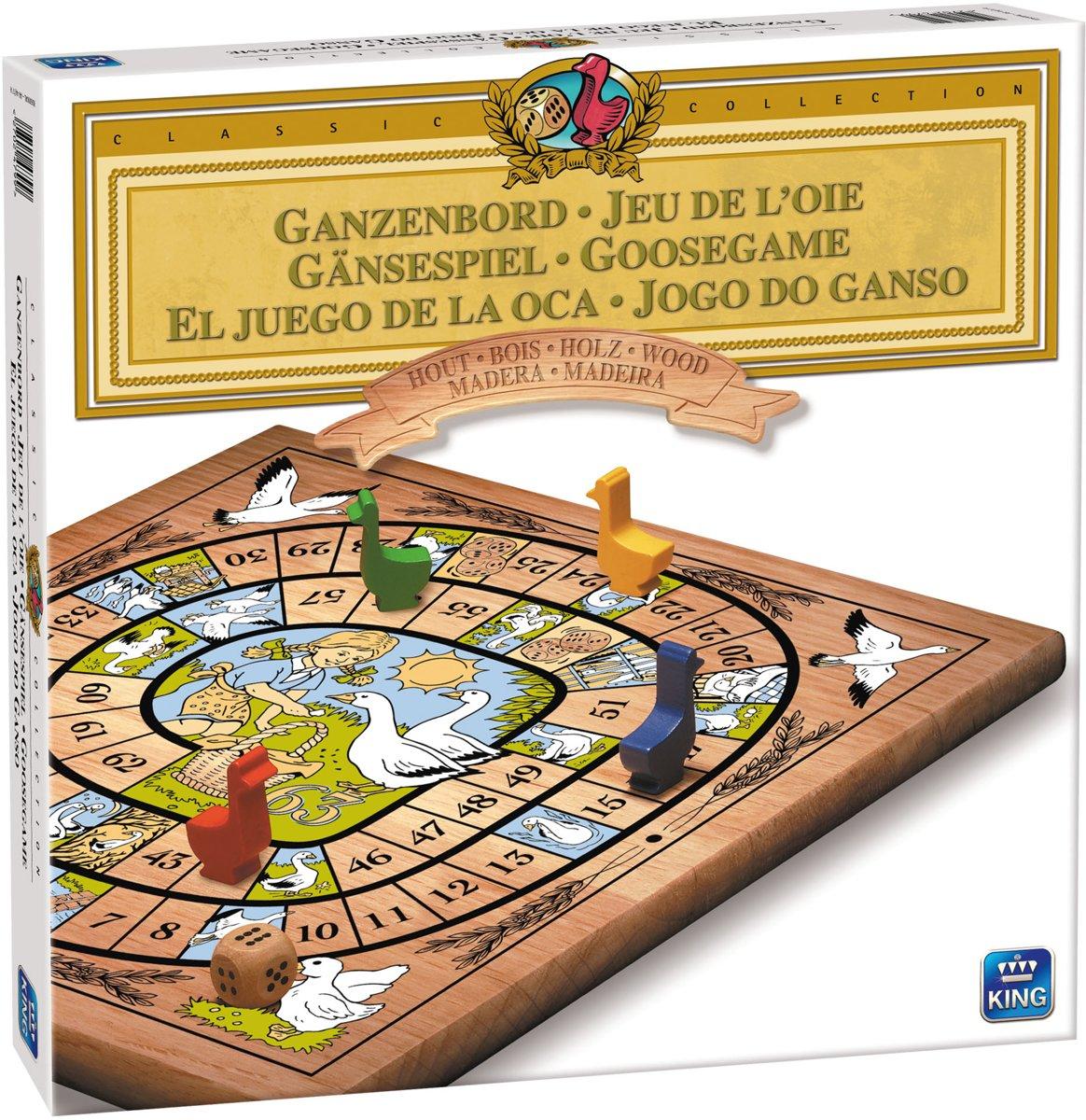 Ganzenbord Bordspel Hout - King - Met Houten Speelfiguren