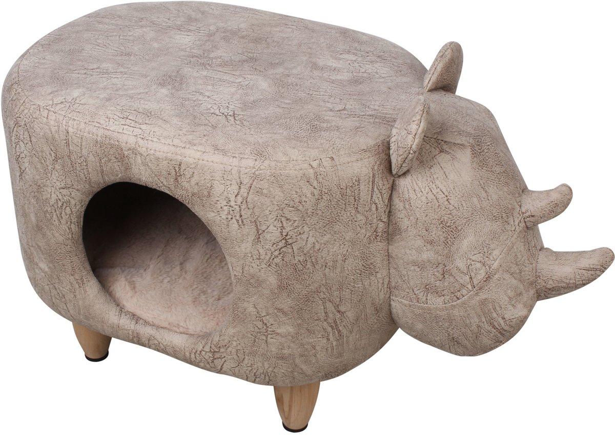 Adori Katten Poef Rhino - Kattenmand - 60x35x38 cm Beige
