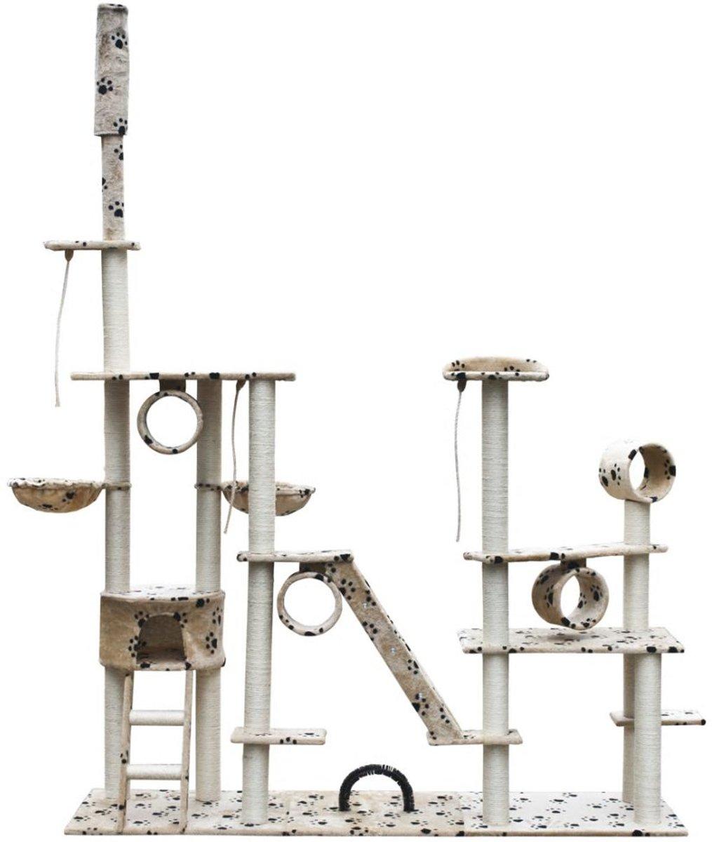 Krabpaal Saartje 230/260 cm 1 huisje - Beige met pootafdrukken