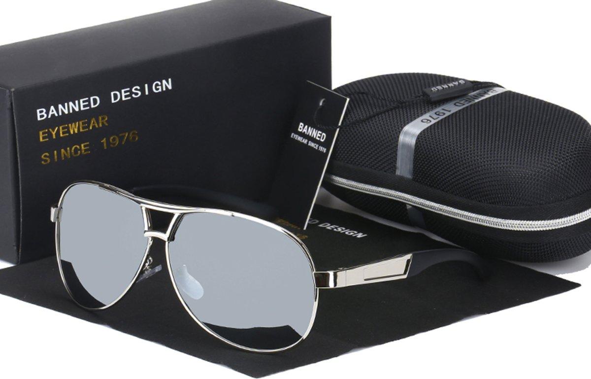 Pilotenbril Banned 1976 AV+ Silver met UV400 en polarisatie filter - Z50 kopen