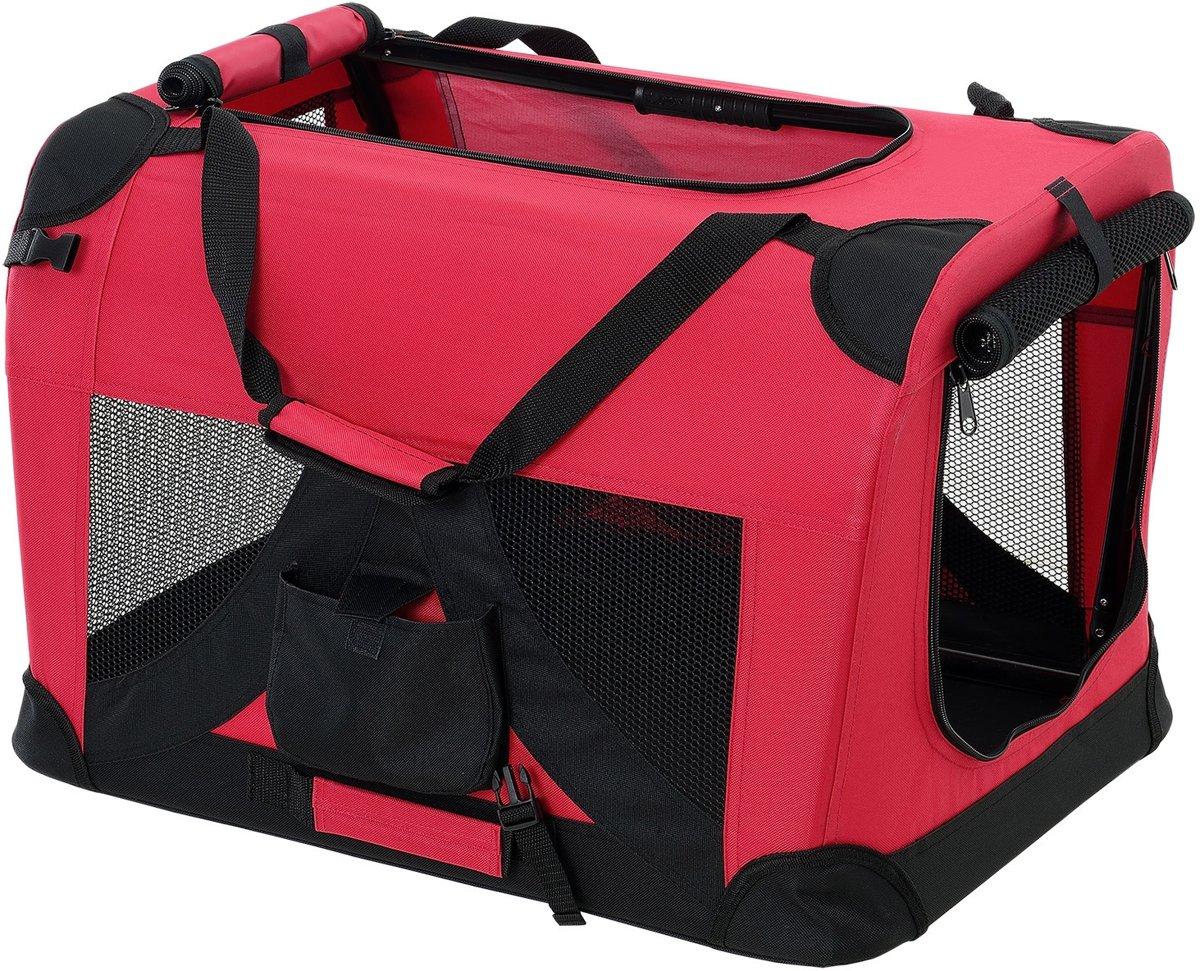 [pro.tec]® Dieren transportbox - reismand - rood - L