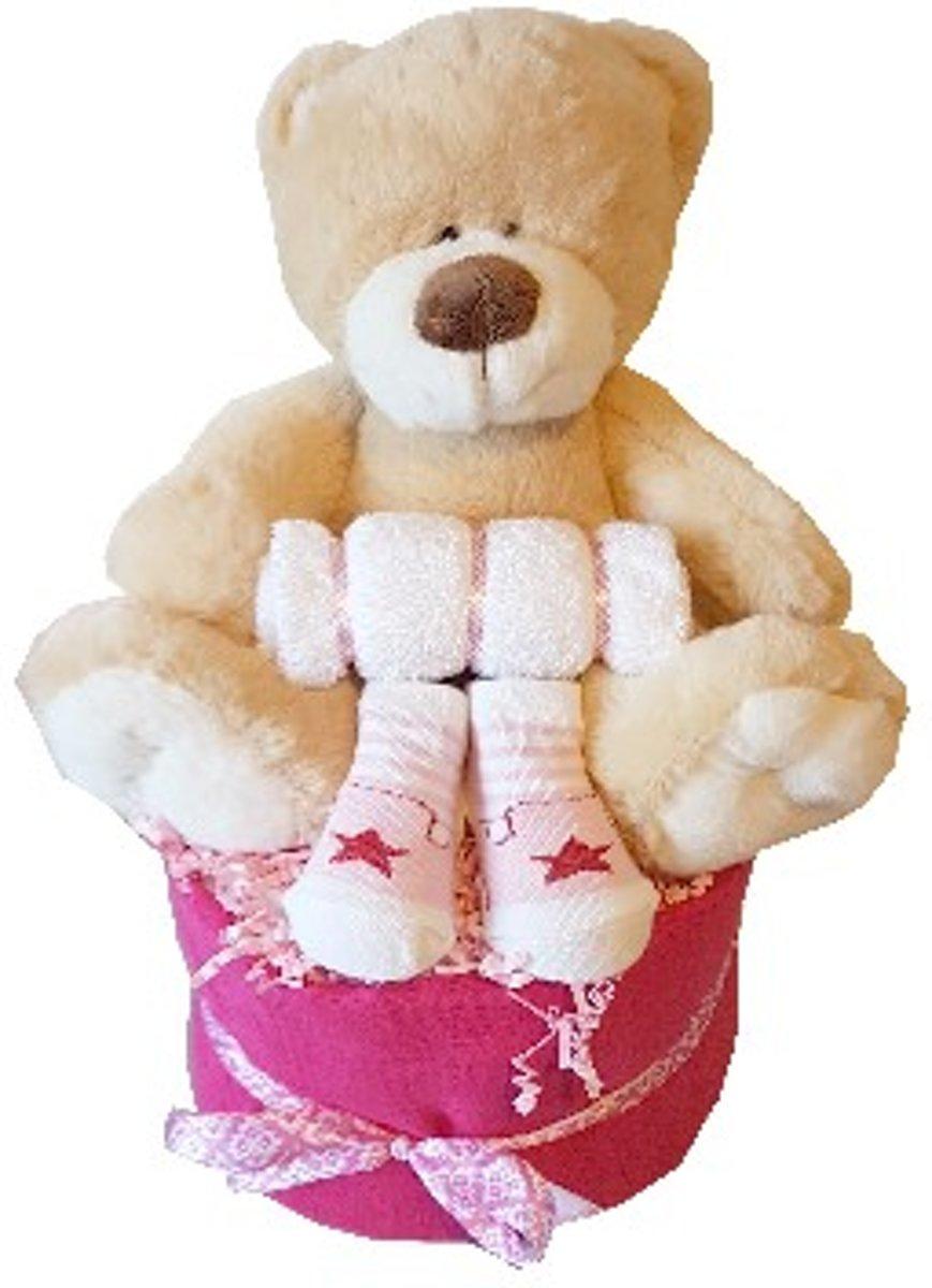 Luiertaart meisje met beer kopen