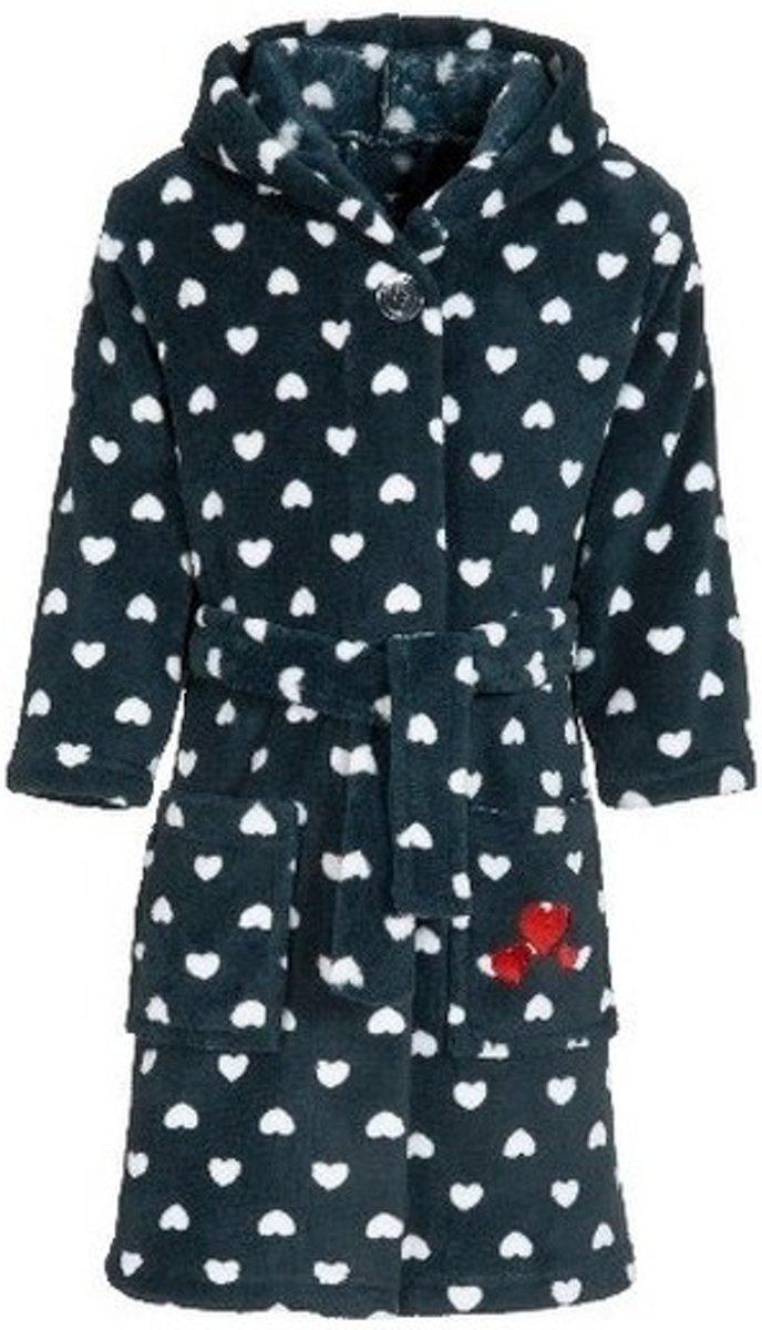 Donkerblauwe badjasochtendjas met hartjes print voor kinderen Playshoes kinder fleecebadjas 98104 (4 5 jr)