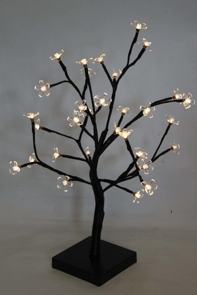 Bonsai boom 45 cm hoog met 32 witte LED lampjes - op batterijen - Kerstboom kopen