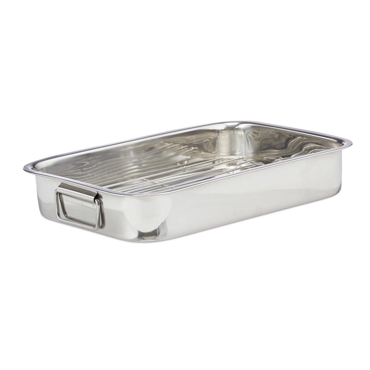 relaxdays braadslede met rooster - edelstaal - ovenschaal - braadpan - braadslee - zilver XL kopen